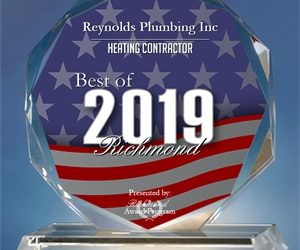 Reynolds Plumbing Inc Receives 2019 Best of Richmond Award.
