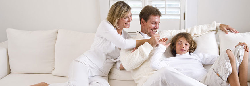 family in comfortable home